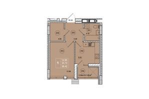 ЖК SmartCity: планировка 1-комнатной квартиры 36.42 м²