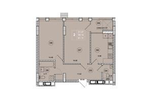 ЖК SmartCity: планировка 2-комнатной квартиры 61.11 м²