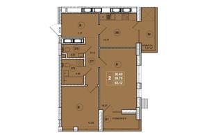 ЖК SmartCity: планировка 2-комнатной квартиры 63.12 м²