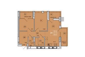 ЖК SmartCity: планировка 2-комнатной квартиры 55.84 м²