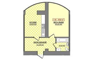 ЖК Соборное: планировка 1-комнатной квартиры 45 м²