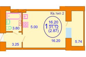 ЖК Софія Київська: планування 1-кімнатної квартири 31.12 м²