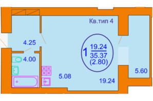 ЖК Софія Київська: планування 1-кімнатної квартири 35.37 м²
