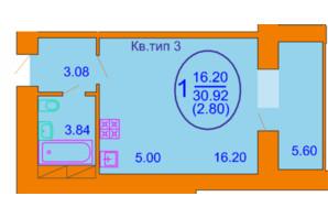 ЖК Софія Київська: планування 1-кімнатної квартири 30.92 м²