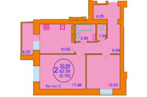 ЖК Софія Київська: планування 2-кімнатної квартири 62.59 м²