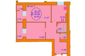 ЖК Софія Київська: планування 2-кімнатної квартири 64.83 м²