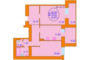 ЖК Софія Київська: планування 2-кімнатної квартири 70.91 м²