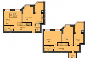 ЖК Софія Резіденс: планування 5-кімнатної квартири 140 м²
