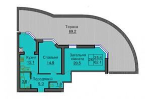 ЖК Софія Сіті: планування 2-кімнатної квартири 62.1 м²