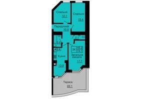 ЖК Софія Сіті: планування 3-кімнатної квартири 74.1 м²