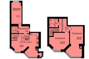 ЖК Софія Сіті: планування 4-кімнатної квартири 108.7 м²