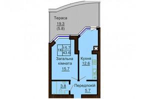 ЖК Софія Сіті: планування 1-кімнатної квартири 45 м²