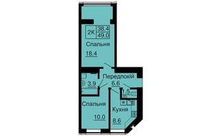 ЖК Софія Сіті: планування 2-кімнатної квартири 49 м²