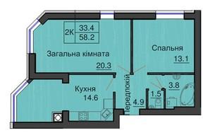 ЖК Софія Сіті: планування 2-кімнатної квартири 58.2 м²