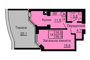 ЖК Софія Сіті: планування 1-кімнатної квартири 36.9 м²