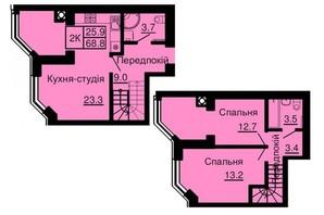ЖК Софія Сіті: планування 2-кімнатної квартири 68.8 м²