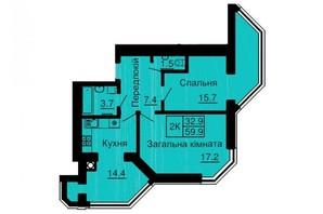 ЖК Софія Сіті: планування 2-кімнатної квартири 59.92 м²