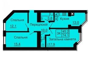 ЖК Софія Сіті: планування 3-кімнатної квартири 74.7 м²