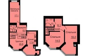 ЖК Софія Сіті: планування 3-кімнатної квартири 106.3 м²