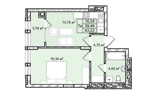 ЖК Софіївка: планування 1-кімнатної квартири 43.2 м²