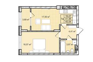 ЖК Софіївка: планування 1-кімнатної квартири 45.6 м²