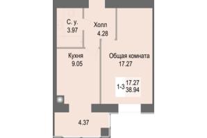 ЖК Софіївська сфера: планування 1-кімнатної квартири 38.91 м²
