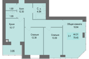 ЖК Софіївська сфера: планування 3-кімнатної квартири 79.45 м²