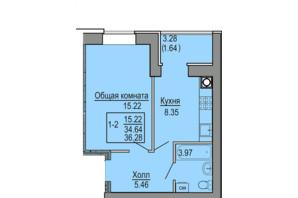 ЖК Софіївська сфера: планування 1-кімнатної квартири 36.28 м²