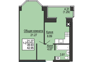 ЖК Софіївська сфера: планування 1-кімнатної квартири 42.95 м²