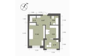 ЖК Софіївські Липки: планування 1-кімнатної квартири 45.5 м²