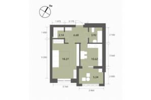ЖК Софіївські Липки: планування 1-кімнатної квартири 47.3 м²