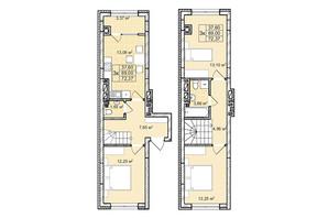 ЖК Софиевка: планировка 3-комнатной квартиры 72.4 м²