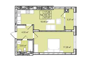 ЖК Софиевка: планировка 1-комнатной квартиры 47.5 м²