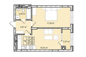 ЖК Софиевка: планировка 1-комнатной квартиры 47.6 м²