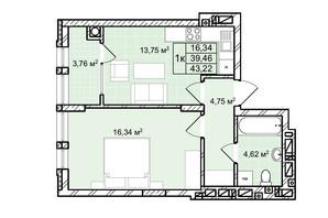 ЖК Софиевка: планировка 1-комнатной квартиры 43.2 м²