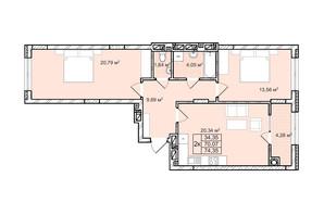 ЖК Софиевка: планировка 2-комнатной квартиры 74.4 м²