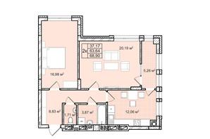 ЖК Софиевка: планировка 2-комнатной квартиры 68.9 м²