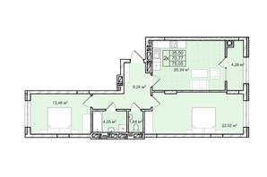 ЖК Софиевка: планировка 2-комнатной квартиры 75.1 м²