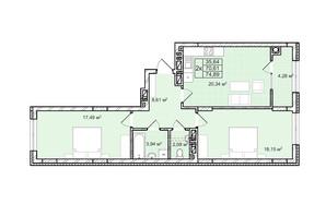 ЖК Софиевка: планировка 2-комнатной квартиры 74.9 м²