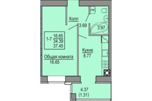 ЖК Софиевская сфера: планировка 1-комнатной квартиры 37.45 м²