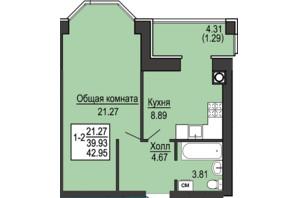 ЖК Софиевская сфера: планировка 1-комнатной квартиры 42.95 м²