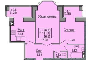 ЖК Софиевская сфера: планировка 2-комнатной квартиры 56.95 м²