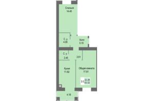 ЖК Софиевская сфера: планировка 2-комнатной квартиры 63.52 м²