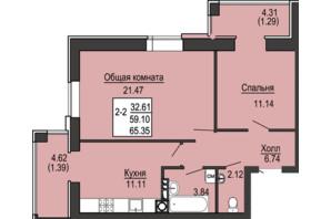 ЖК Софиевская сфера: планировка 2-комнатной квартиры 65.35 м²