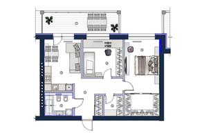 ЖК София: планировка 2-комнатной квартиры 75.8 м²