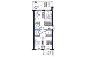 ЖК София: планировка 3-комнатной квартиры 127.1 м²