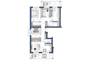 ЖК София: планировка 4-комнатной квартиры 158.9 м²