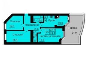 ЖК София Резиденс: планировка 3-комнатной квартиры 74.1 м²