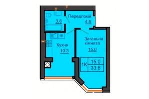 ЖК София Резиденс: планировка 1-комнатной квартиры 33.6 м²