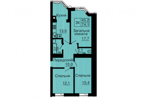 ЖК София Резиденс: планировка 3-комнатной квартиры 71.1 м²